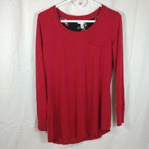 soma womens medium long sleeve red pocket tee shir